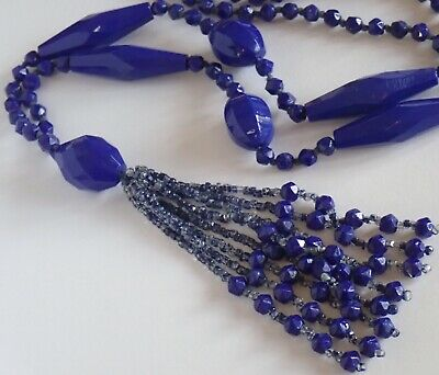 Antique Art Deco Deep Periwinkle Blue Czech Glass Bead Tassel Necklace