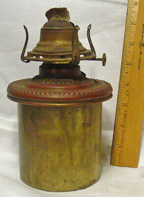 Antique Smaller Embossed Brass Oil Lamp GWTW Drop In Font Tank with Burner