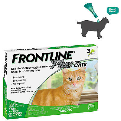 New Frontline Plus Flea and Tick Treatment For Cat over 8 weeks, 3 Months Supply