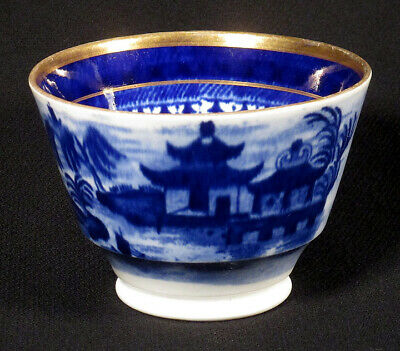 Early 1800s Antique CHINESE EXPORT Handleless Teacup NANKING CANTON Blue Cup