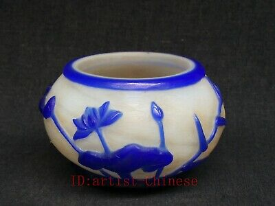 Collected China Old Glass Manual Carving Flowers Birds Water Washing Bowl Cup
