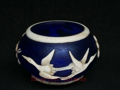 Collection China Old Glass Manual Carving Pine Tree Crane Water Washing Bowl Cup