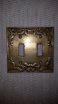 Vintage Double Light Switch Cover Brass