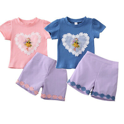 Summer Kids Baby Girl Clothes T-shirt Tops+Shorts Pants Toddler Outfits 2Pcs/Set