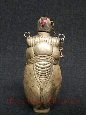 Unique Collection Old China Tibet Silver Handmade Cicada Statue Snuff Bottles