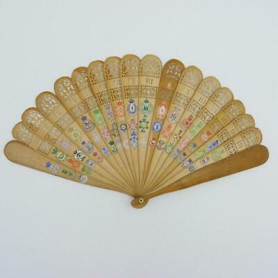 19th CENTURY CHINESE BRISE FAN DECORATED WITH BRITISH REGIMENTAL BADGES