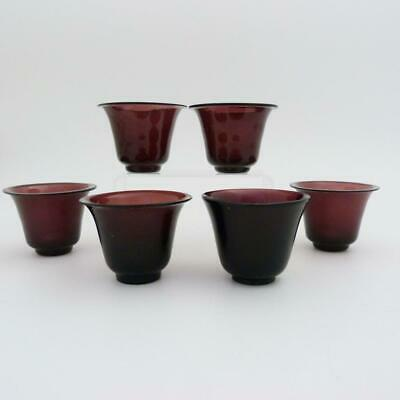 Set Of Six Antique Chinese Peking Glass Cups, 19Th Century