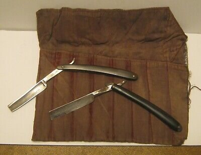 2 Antique Straight Razors in Roll-Up Cloth Bag G.H. FRALICK & WADE and BUTLER!!