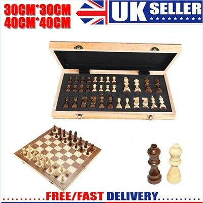 Large Chess Wooden Set Folding Chessboard Magnetic Pieces Wood Board New Hot uk