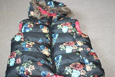 Girls Floral Hooded Body Warmer Gilet Black Floral Age 11-12 Years