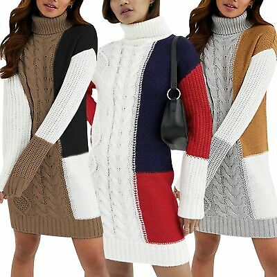 Ladies Womens Brave Soul Long Turtle Roll Neck Dress Jumper Chunky Cable Knitted
