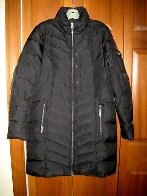 EDDIE BAUER DOWN JACKET Parka LODGE Coat Jacket Long BLACK GOOSE DOWN WOMENS LG!