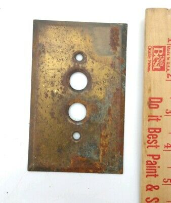 Old single Push Button Switch cover Plate vintage solid brass surface rust