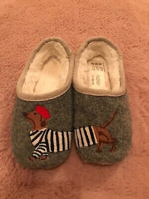 Joules Kids Slippers Size Small 10-11 Dauchaund Dog Sausage Dog Slippers