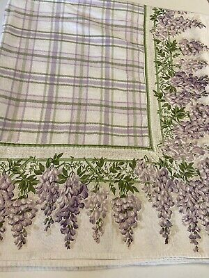 "Terrisol Heavy Cotton Floral Tablecloth Rectangular Wisteria Border 90""X 58"" EUC"