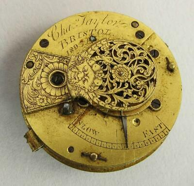 GEORGIAN ANTIQUE FUSEE VERGE POCKET WATCH MOVEMENT by CHAs TAYLOR BRISTOL  b