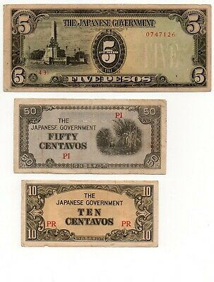 JAPAN / PHILLIPINES   - 3  RARE WWII     10  &  50  cents  +  5  pesos