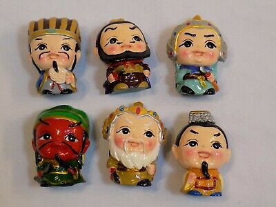 Chinese? Men Figures Figurine Set Resin? Small Miniature Asian Dolls Vintage LOT
