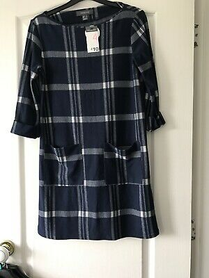 Bnwt Ladies/Girls Navy &  White Check  Day Dress By Primark Size Uk 4 Rrp £10