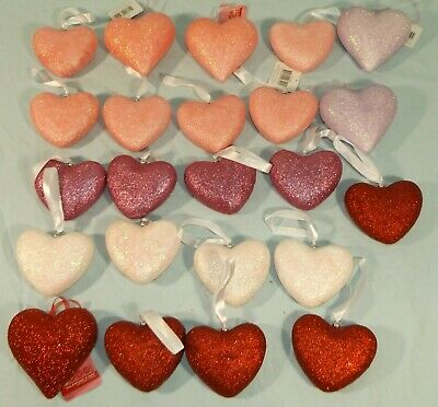 23 Puffy Heart Valentine Ornaments Decorations Pink Purple Red White Sparkle