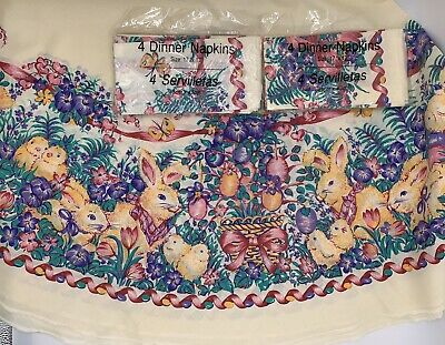 """NEW Vintage Easter Ivory Tablecloth 8 Napkins Bunnies Flowers Bows Round 70"""""""