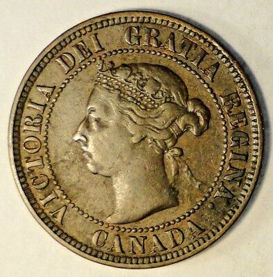 1892 Canadian Large Cent Coin, (Bronze Material), KM7 A12
