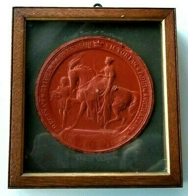 AMAZING Antique Red WAX GREAT SEAL OF SCOTLAND QUEEN VICTORIA Framed 8.5""