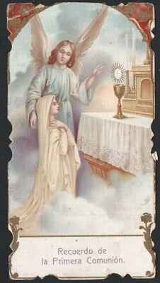 Estampa antigua de Primera Comunion santino holy card image pieuse