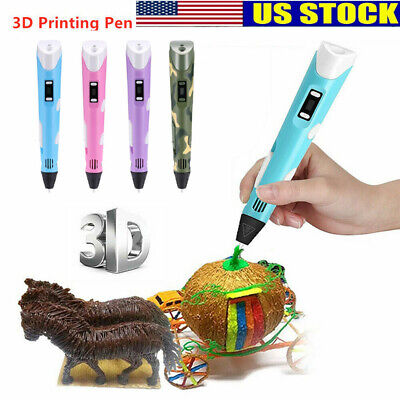 3D Printing Pen Crafting Doodle Draw Arts Printer PLA/ABS Filaments Kid Gift US