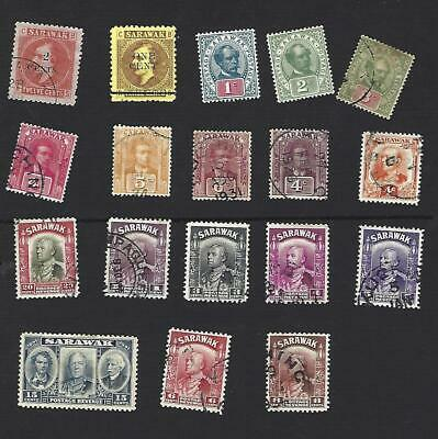 SARAWAK 1880's-1930's. 18 DIFFERENT CHARLES VYNER BROOK STAMPS TO 20c, GU/MH MIX