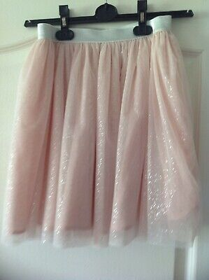 Bnwot Girls  Sparkly Pale Pink & Silver Party Special  Skirt By F&F Age 11-12 Yr