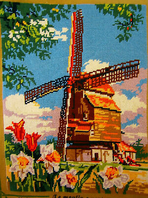 Vintage SEG de Parise Needlepoint Hand Stitched Tapestry Completed