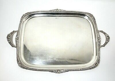 Rectangular silver tray with handles. England, 1902 (was imported to Finland).