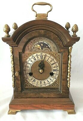 Warmink Mantel Clock 1950s 8 Day Moonphase Bell Strike, Pendulum And Key
