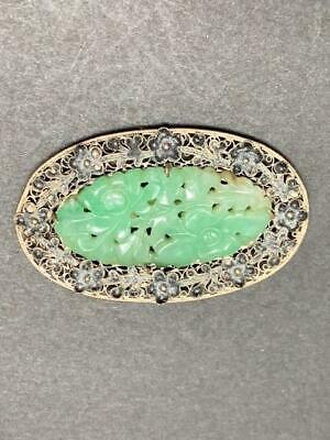 Antique Chinese Carved Green Jade Clip Silver Filigree Frame