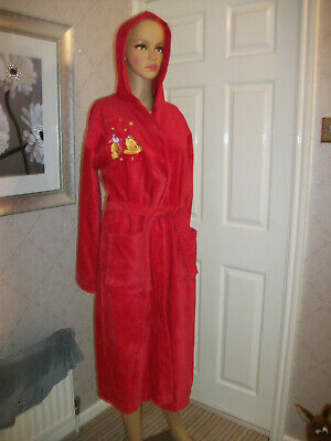 Disney Tesco Red Hooded Towelling Dressing Gown/Bath Robe Age 13-14 Winnie The P