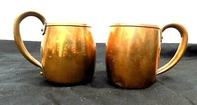 Solid Copper Cups West Bend MCM Moscow Mule Mugs Rustic Decor Lot of 2 50s 60s