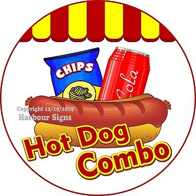Hot Dog Combo DECAL (Choose Your Size) Concession Food Truck Circle Sticker
