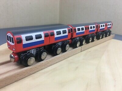 Three x Wooden ELC London Underground / Tube Train Carriages