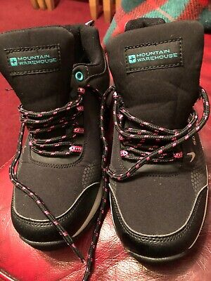 Girls black and pink mountain warehouse walking trainers size