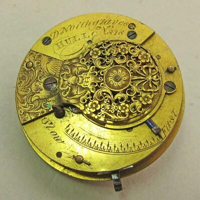 GEORGIAN ANTIQUE FUSEE VERGE POCKET WATCH MOVEMENT by G NORTHGRAVES HULL  c