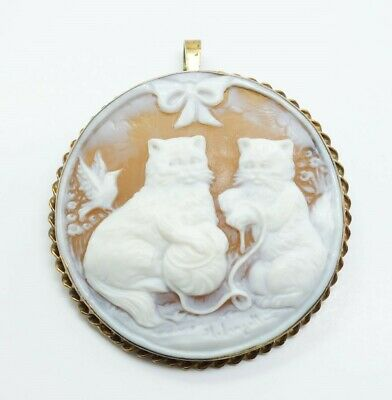 Antique Early 20c Sterling Silver Hand Carved Double Cat Cameo Pendant Brooch