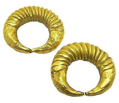 c. 1400 - 700 B.C. Middle Bronze Age Gold Bar Twisted Earrings Ring Money RARE