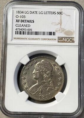 1834 Large Date Large Letters Half Dollar Ngc Xf Details Cleaned Free Shipping