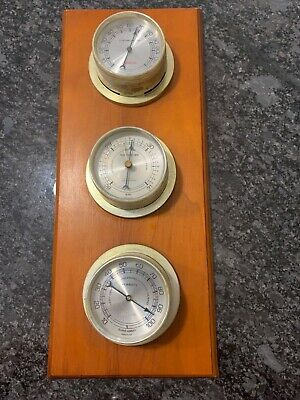 Vintage Sunbeam USA Weather Station Temp Barometer Humidity Wood Wall Mount