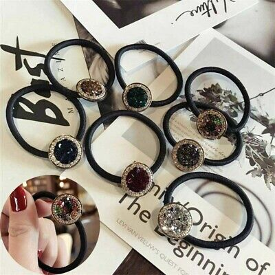 Women Elastic  Hair Ring Rope Band Rubber Ponytail Holder Scrunchies Crystal