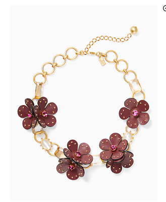 Beautiful! KATE SPADE Floral Flower Blooming Bling Leather Statement Necklace