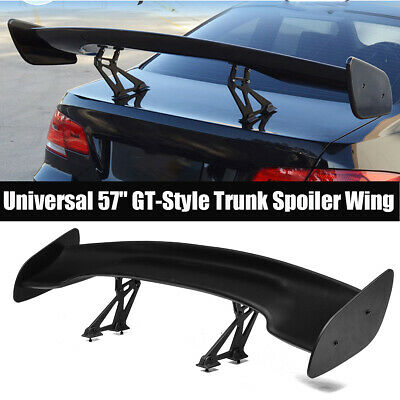 """UNIVERSAL 57/"""" WING DRAGON-3 STYLE BLACK ABS REAR GT-STYLE TRUNK SPOILER WING"""