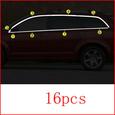 16pcs Car Stainless Steel Window Sill Protector Plate For Dodge Journey 2013-16