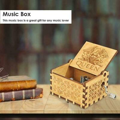 Hand Crank Wooden Engraved Queen Music Box Kids Christmas Toys Gift 65*52*42mm